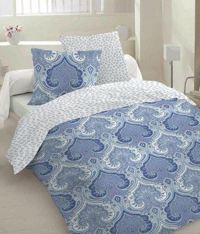 Pościel z satyny bawełnianej Szafran Rubio Costa kolor niebieski w Mango