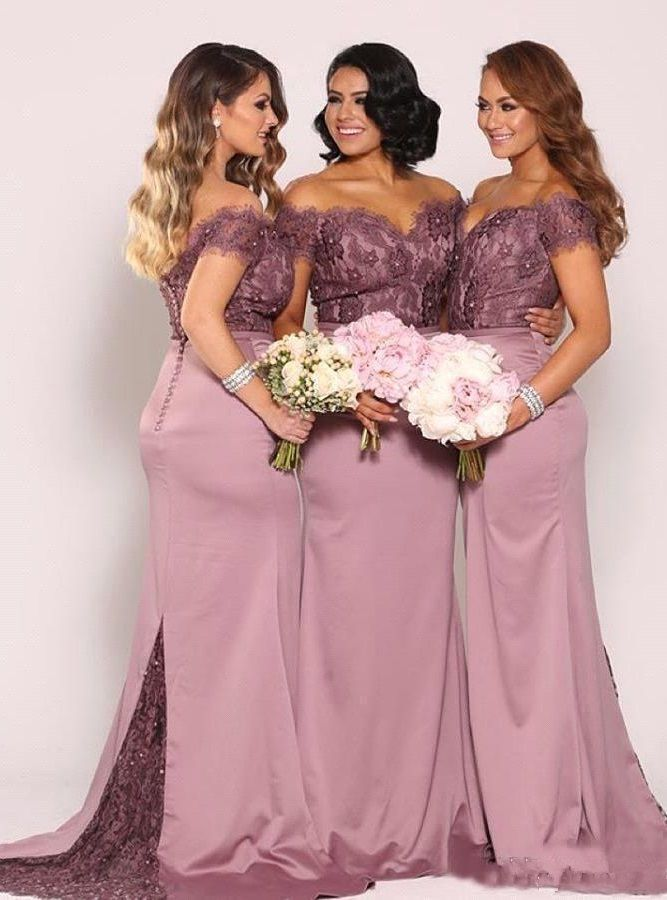 e3f857589c6 Off the Shoulder Plus Size Bridesmaid Dresses New Vintage Lace Top with  Train Beaded Cheap Maid of Honor Gowns Long Formal Gowns
