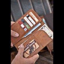 Travel Checkbook Wallet - Whiskey