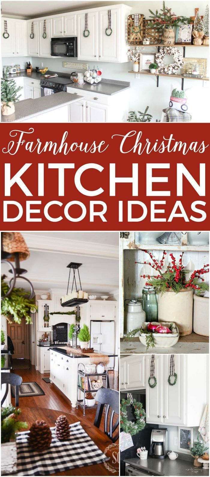 14 Fabulous Farmhouse Christmas Kitchens The Turquoise Home Farmhouse Christmas Kitchen Christmas Kitchen Decor Christmas Kitchen