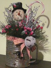 HAND CRAFTED SNOWMAN GREENERY,IN VINTAGE SIFTER CHRISTMAS ARRANGEMENT