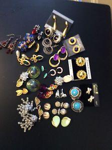 Lot 25 Pair Ear Rings Vintage Retro 1 Antique Ann Kline Trafari Coro Other | eBay