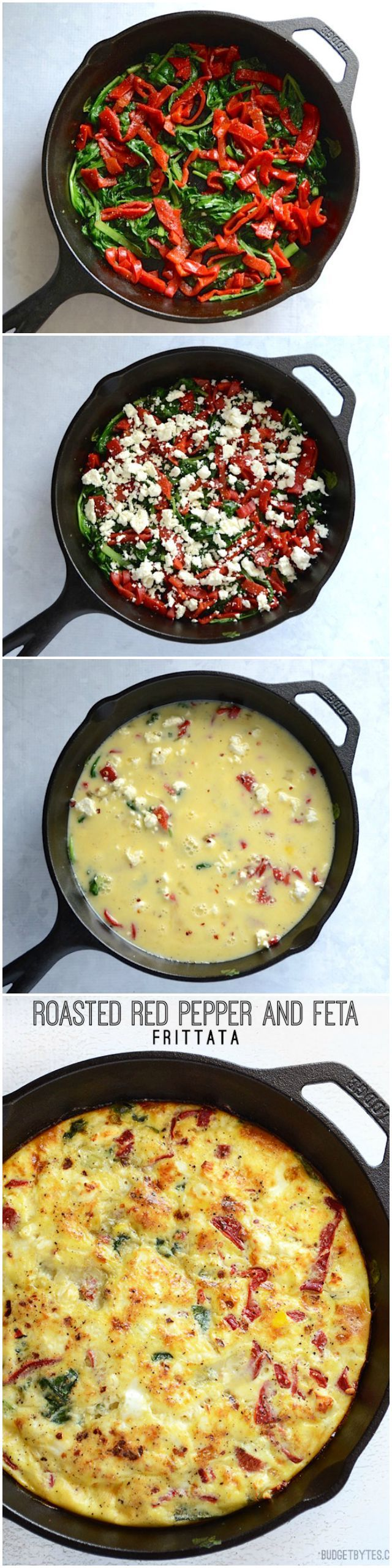 Roasted Red Pepper and Feta Frittata - BudgetBytes.com. I used onions and roasted red pepper. Everyone liked it. -cb