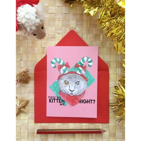 Cartão de Natal - Candy Cat