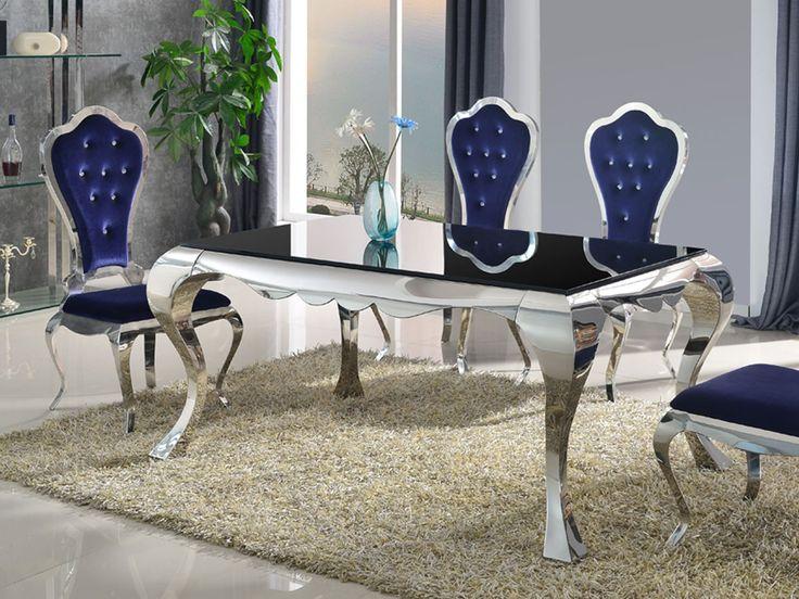 Spisebord i rustfritt og polert stål med 1 cm tykk bordplate i herdet sort glass.Art nr: CO0165Serie: SliverlineDimensjoner (cm): Bredde:150, Dybde: 90, Høyde: 75Materiale: Vi benytter rustfritt stål grad 202 i denne modellen.