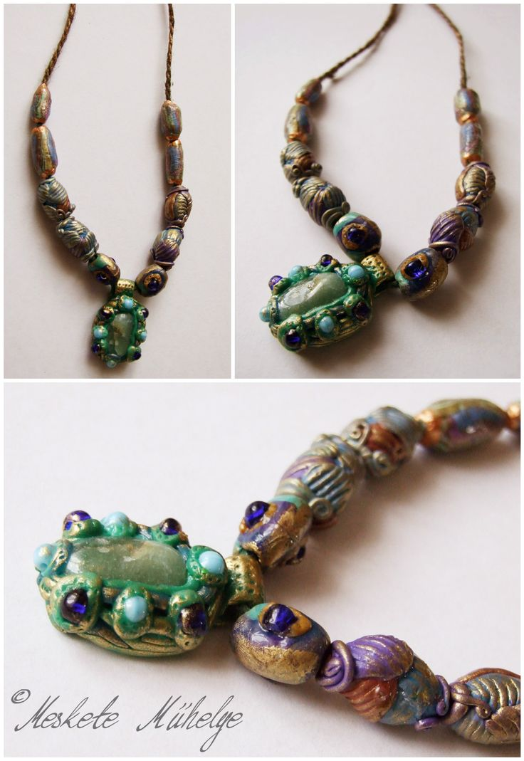 polymer clay necklace with agate