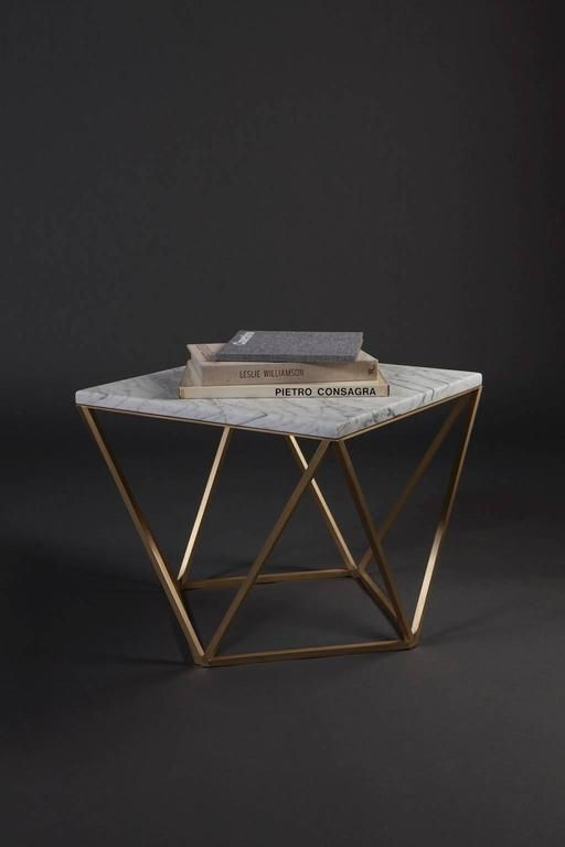 Dusk Side and Accent Table in Honed White Marble and Brushed Brass