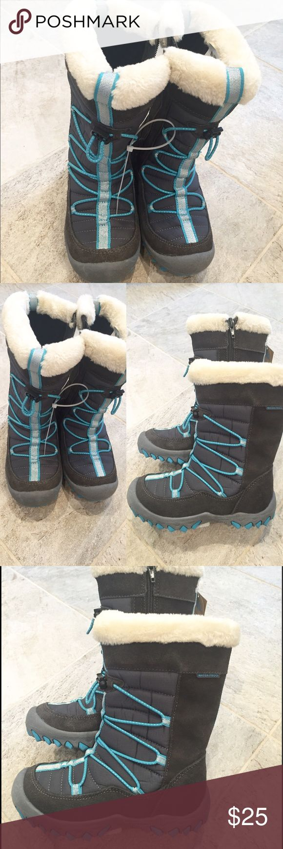 Waterproof winter boots for girls, size 12. Waterproof winter boots. Grey with light blue and silver accents, size 12 girls. Zipper on the side, faux fur trim. New w tags. 🚭Smoke free home. Shoes Boots