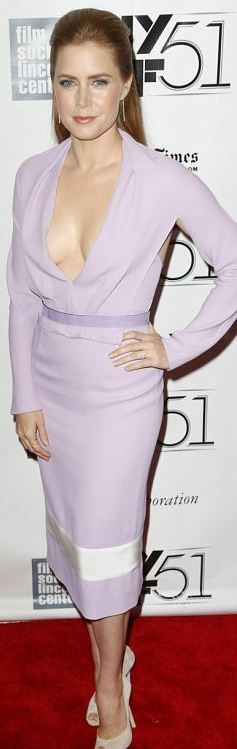 Who made  Amy Adams' purple long sleeve dress that she wore in New York City?