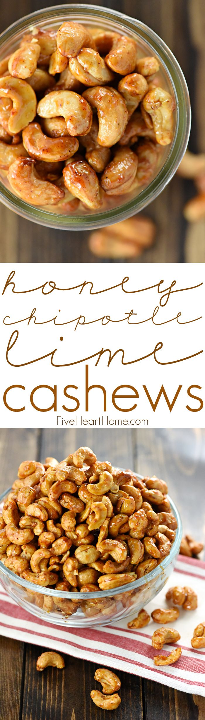 Honey Chipotle Lime Cashews ~ the perfect balance of sweet, spicy, and smoky, these glazed nuts are roasted to perfection and completely addictive, making them a fantastic gift or a tasty party snack! | FiveHeartHome.com