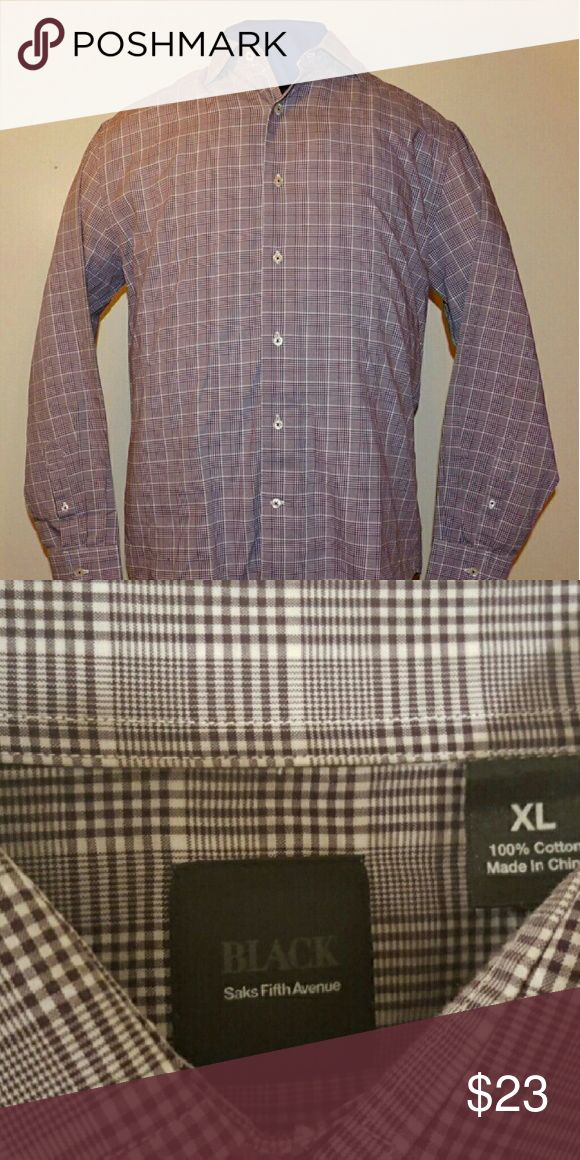 Saks Fifth Avenue Purple Plaid Dress Shirt Size XL I have for sale a Saks Fifth Avenue Purple Plaid Dress Shirt Size XL. The shirt is in like new condition. These shirts are very well made and the name says it all. I will ship within one business day and once shipped I'll provide tracking info. Saks Fifth Avenue Black Label Shirts Dress Shirts