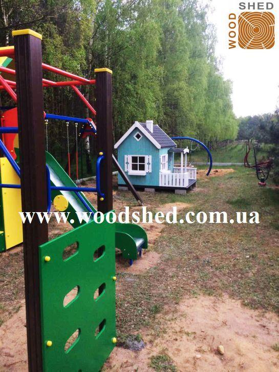 Хотите и себе такой? #Игровой #деревянный #домик #Остапчик возле леса.  Отлично выбранное место для детской площадки на участке заказчика. Установили за 1 день. Цвет домика - голубой в 1 слой.  http://woodshed.com.ua/dets…/24-detskij-domik-ostapchik.html Звоните 📞: (044) 353 50 54: +38 (067) 464 64 52; +38 (095) 150 44 04