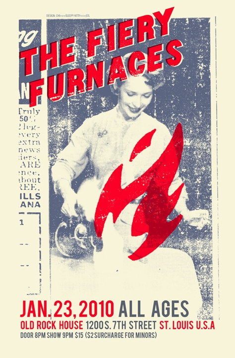 Poster done by Sleepy Kitty for The Fiery Furnaces show, January 23, 2010.