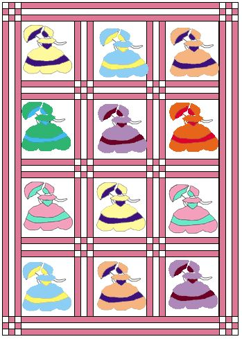 free pattern...with download...Umbrella Lady Quilt