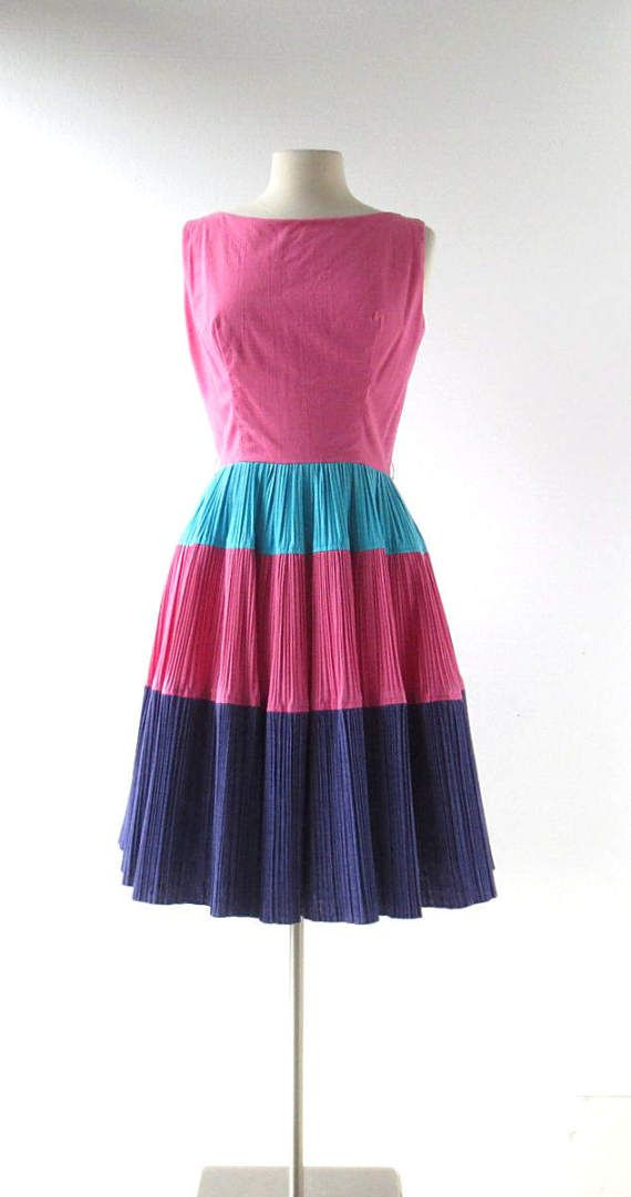 Vintage 60s Dress La Fiesta Circle Skirt Dress 1960s