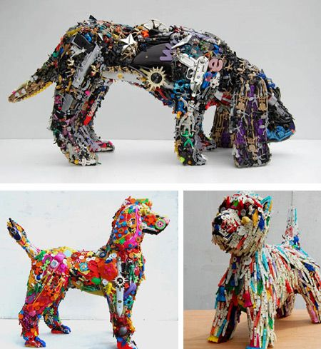 Robert Bradford creates these life-size and larger-than-life sculptures of humans and animals from discarded plastic items, mainly toys but also other colourful plastic bits and pieces, such as combs and buttons, brushes and parts of clothes pegs.‏ - Oddee.com (art from recycled materials, crafts from recycled materials)