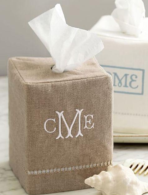 Burlap monogram tissue box cover