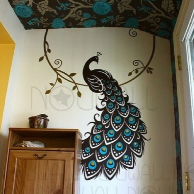 Peacock wall art cool ceiling too art and decor pinterest for Peacock wall art