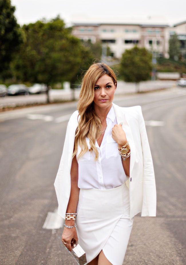 All White #Blazers #Shirts & Blouses #Skirts