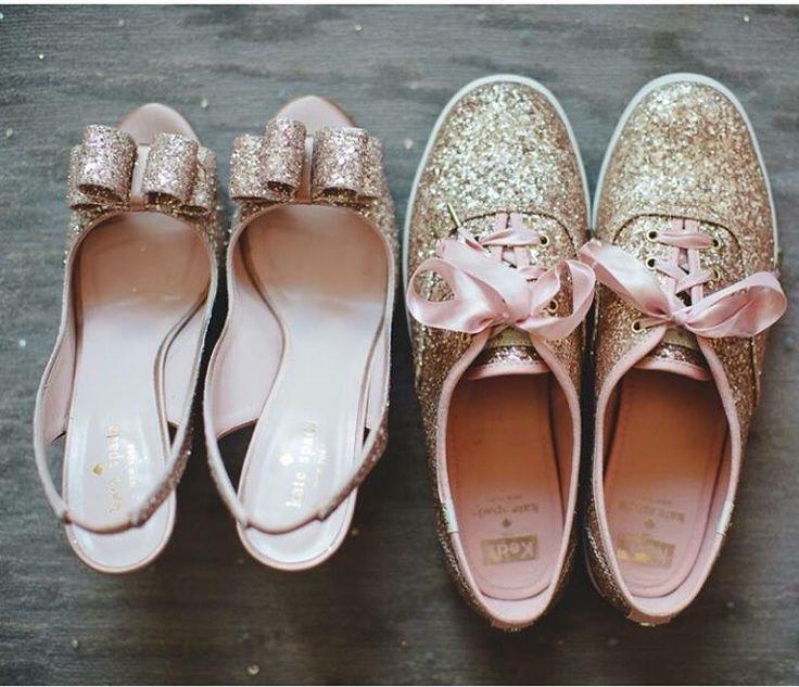 Kate spade rose gold glitter shoes. Wedding shoe idea too!