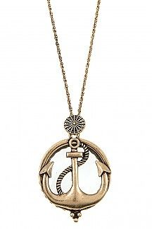 ANCHOR PENDANT WITH MAGNIFYING GLASS LONG NECKLACE