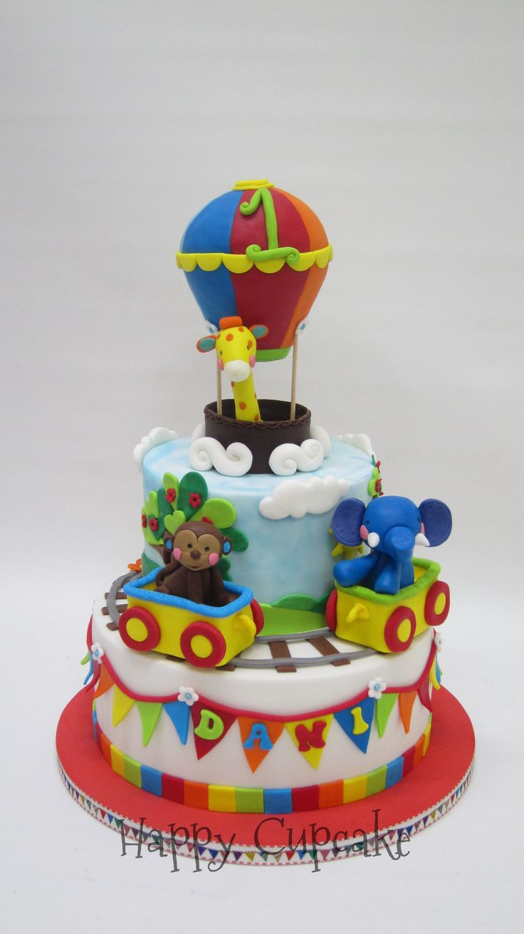 Tarta de cumpleaños tren de animales Fisher Price.  Birthday cake