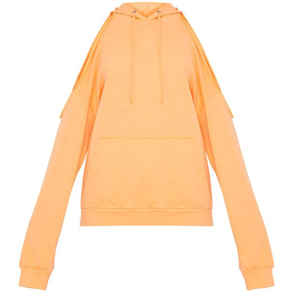 Leonah Orange Cold Shoulder Oversized Hoodie (€12) ❤ liked on Polyvore featuring tops, hoodies, beige hoodie, oversized hoodie, cut shoulder tops, oversized hooded sweatshirt and oversized tops