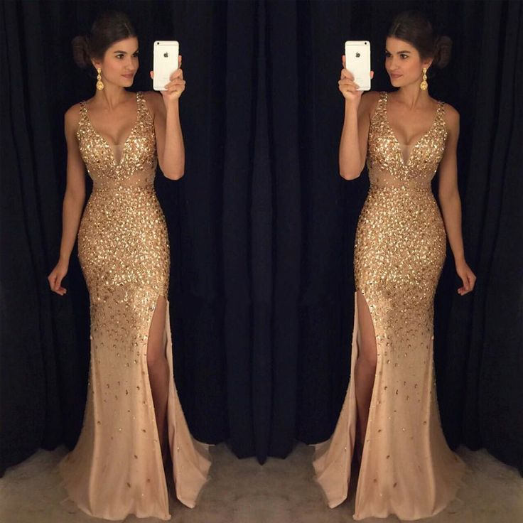 2017 Gold Rhinestone Sparkle Sexy Side Slit Long Mermaid Prom Dresses, PD0245