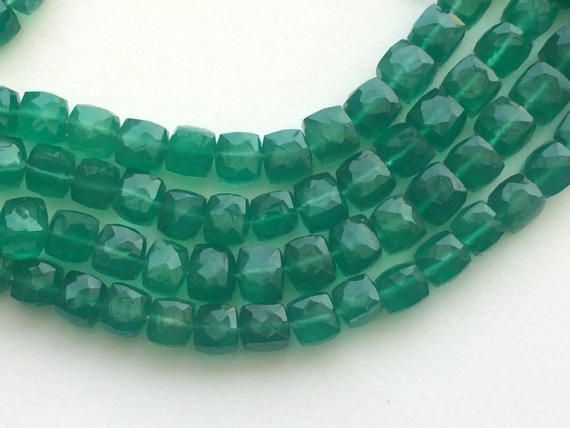 Green Onyx Faceted Cubes Green Onyx Box Beads by gemsforjewels
