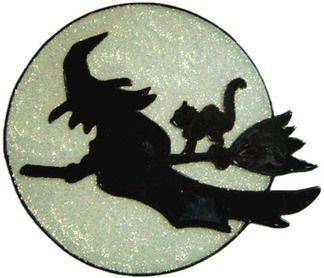 Silhouette Witch Handmade Peelable Window Cling Decoration from Ali's Craft Studio.