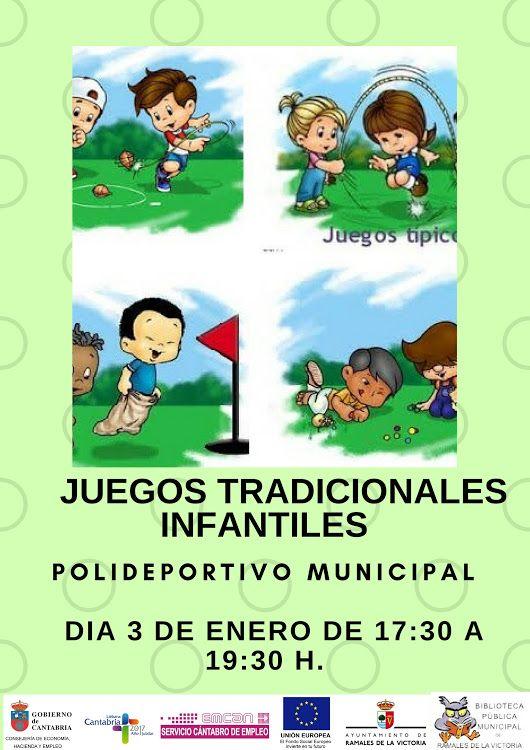 """Juegos Infantiles Tradicionales para niñas y niños de 6 a 12 años.  Miércoles 3 de enero a las 17:30 h en el  Polideportivo Municipal """"El Regato""""."""