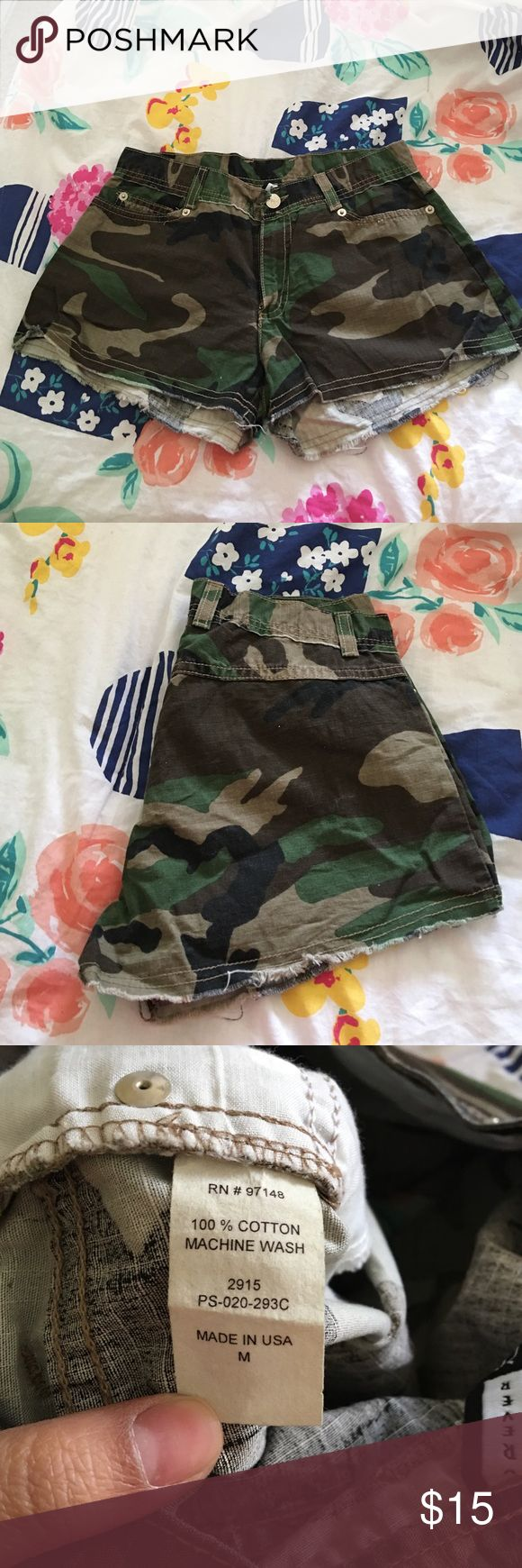 Camouflage Shorts Really short shorts. I think it fits a size S and XS better. Like new. Forever 21 Shorts