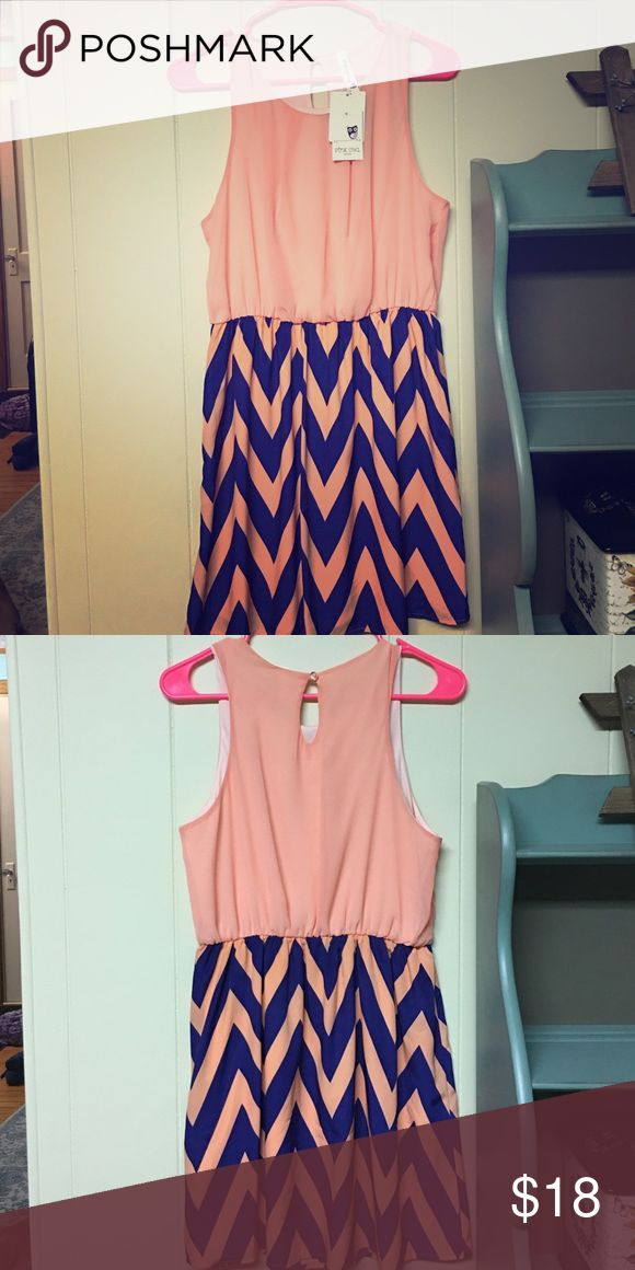 Peach and Blue Chevron Dress A perfect summer dress that is NWT! Pink Owl Dresses