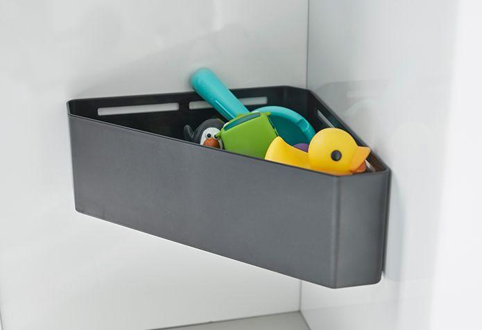 マグネットバスルームコーナーおもちゃラック タワー のご紹介です マグネットタイプで お風呂のコーナーにカンタン設置 水切り穴が開いているので通気性のよいおもちゃラックです 散らかりがちなお風呂のおもちゃを一括収納 シンプルなデザインなので