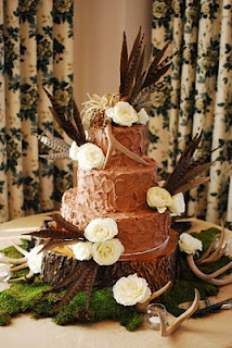 Rustic look of top 2 layers - German choc inside choc frost outside - grooms cake