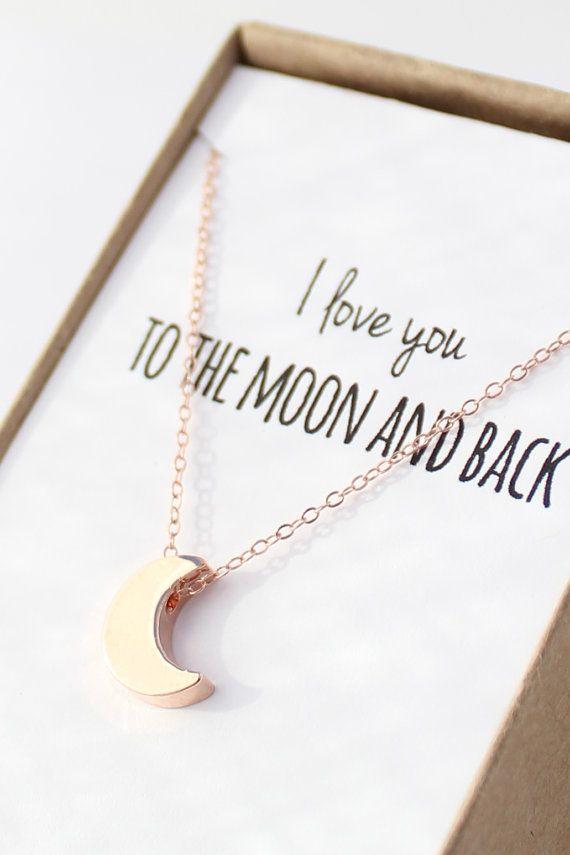 Rose Gold Moon Necklace Tiny Moon Necklace door powderandjade