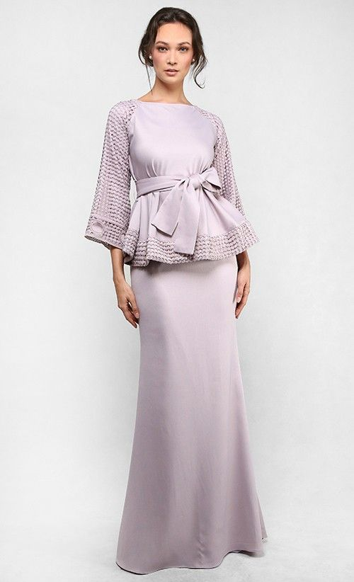 The Bell-Shape Top with Sash Kurung in Light Taupe