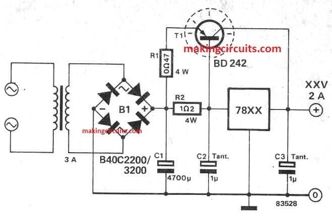 increase boost current in 7812, 7805 and all 78XX circuit using transistor  | Battery charger circuit, Power supply circuit, Electrical circuit diagramPinterest