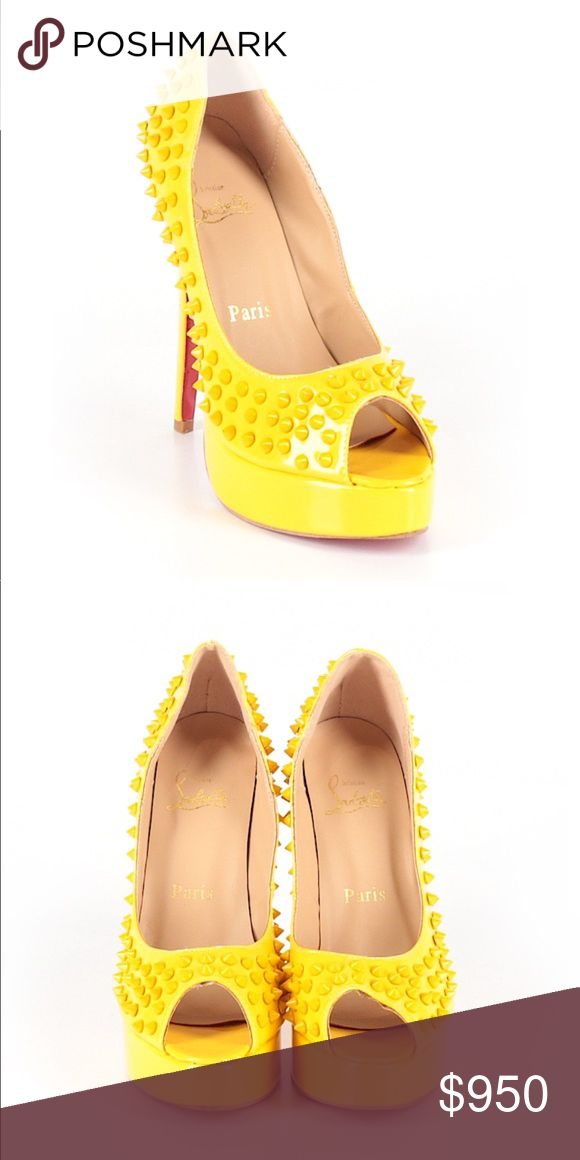 Christian Louboutin Yellow Studded Pumps Christian Louboutin yellow pump shoes with studs. Size 39. In excellent condition. Heel height 6.   Ships within 5 days. Christian Louboutin Shoes Heels