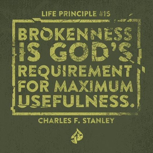 The sacrifices of God are a broken spirit; a broken and a contrite heart, O God, You will not despise.  - Psalm 51:17   Charles F. Stanley, Inspirational Quotes, 30 Life Principles, Bible