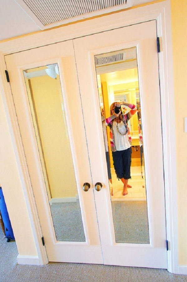 Make your closet doors look more expensive by adding some for Cheap framed mirrors