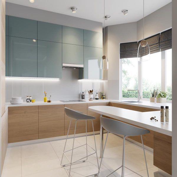 5 Contrasting Small Apartment Designs Blue Kitchen Interior