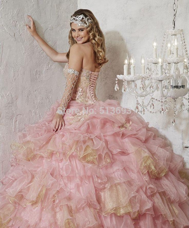 Luxuirous querida com flores e babados rosa / ouro vestido de baile princesa Quinceanera vestidos de cristal Beading em Vestidos de Debutante de Casamentos e Eventos no AliExpress.com | Alibaba Group