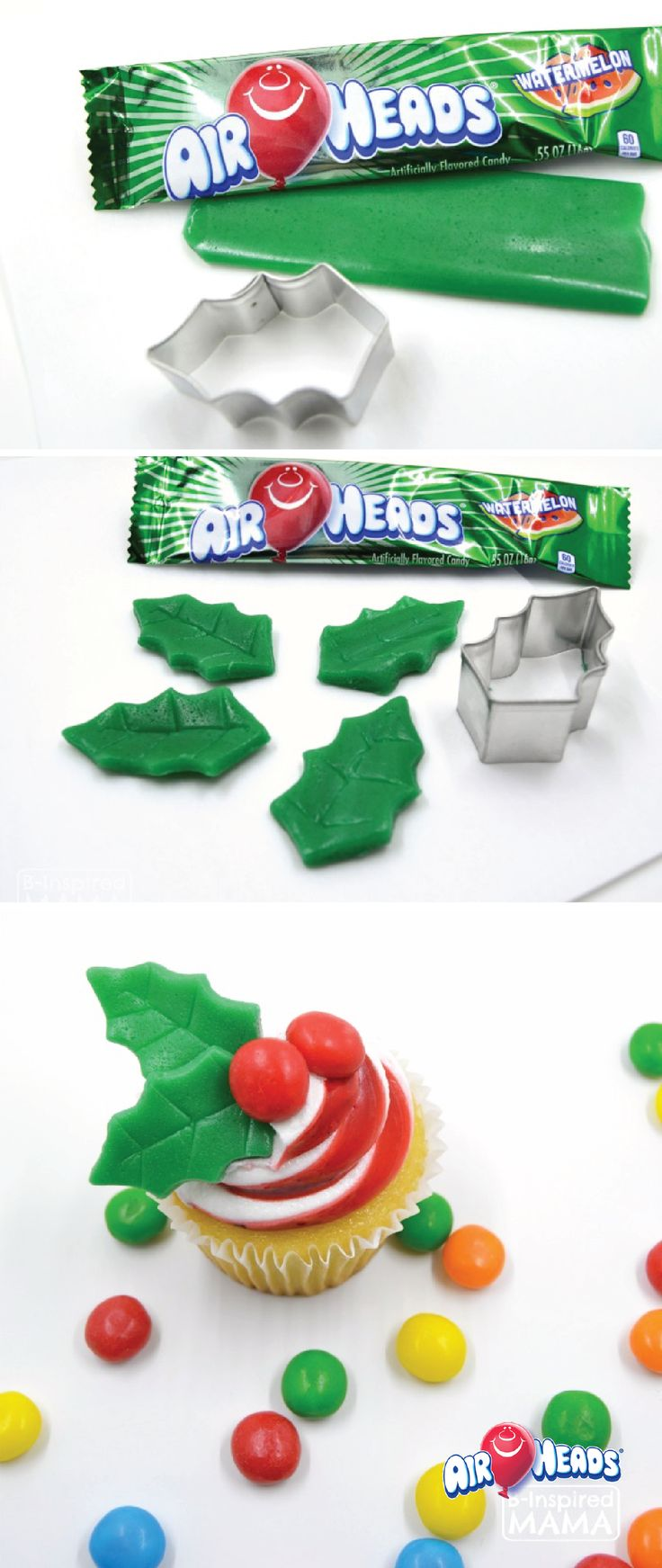 It is simple to craft and create these Christmas Holly Cupcake Toppers! Decorate your holiday dessert table with your kid's favorite candy, Airheads! These simple treats are easily cut and molded into unique shapes – perfect for dessert decorating.