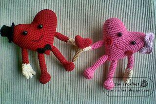 Valentijn Hart Stelletje ~ Zan Crochet, #haken, gratis patroon, Nederlands, amigurumi, knuffel, #haakpatroon, (also available in English)