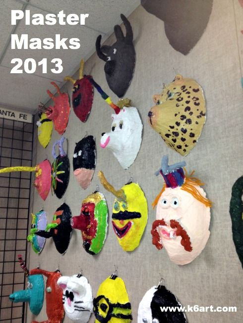5th graders used plaster wrap and foil to create fanciful masks.