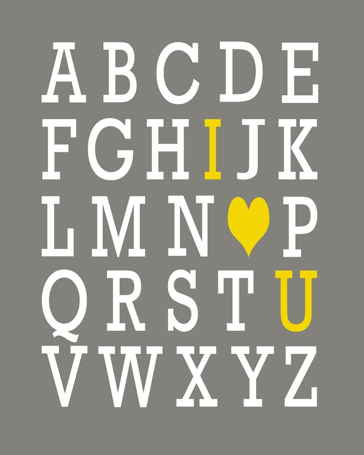 I'm going to paint a canvas of this and put it in my child's room one day. Practice their alphabet, and always know I love them.Child Room, Yellow Playrooms, For Kids, Kids Spaces, Cute Ideas, Kids Room, Yellow And Gray Playrooms, Baby Animal, Baby Room