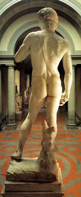 Rear view of Michelangelo's statue of David