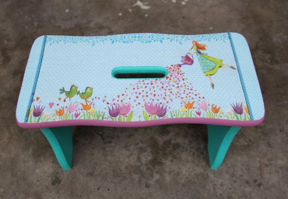 Wooden bench for kids, children wooden stool, furniture, decoupage bench