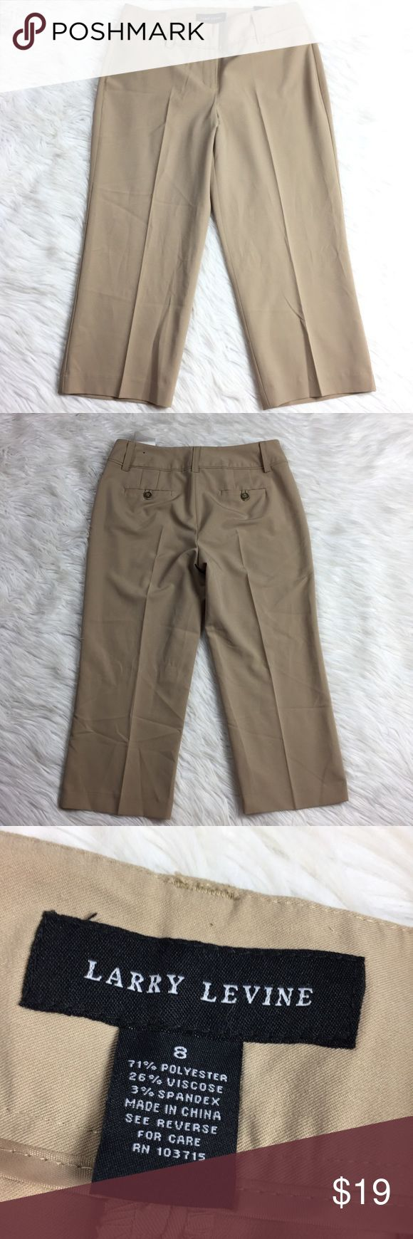 """NEW •• Larry Levine • Light Khaki Capri Pants Classic Larry Levine capris in brand new condition with all original tags attached. The color is a light tan khaki. Super cute dressed up or down. Appropriate for casual get together, as well as, dress up with a blouse for the office. Very versatile.  Measurements (approx.) Inseam: 21.5"""" Flat Lay Waist: 15""""  Comes from pet free smoke free home. (LLR2-0542) Larry Levine Pants Capris"""